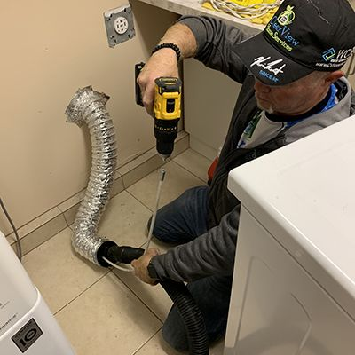 Inside dryer vent cleaning